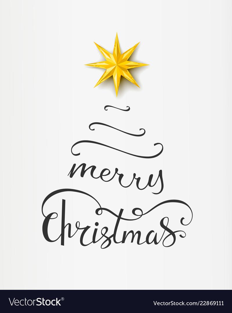 Merry christmas inscription in shape of xmas tree Vector Image