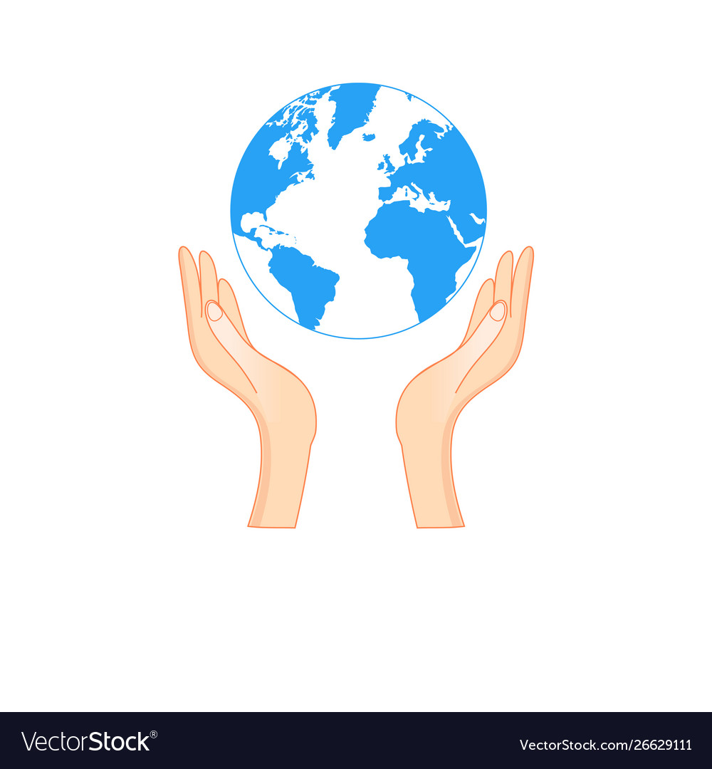 Outline symbol a hand holding earth vector