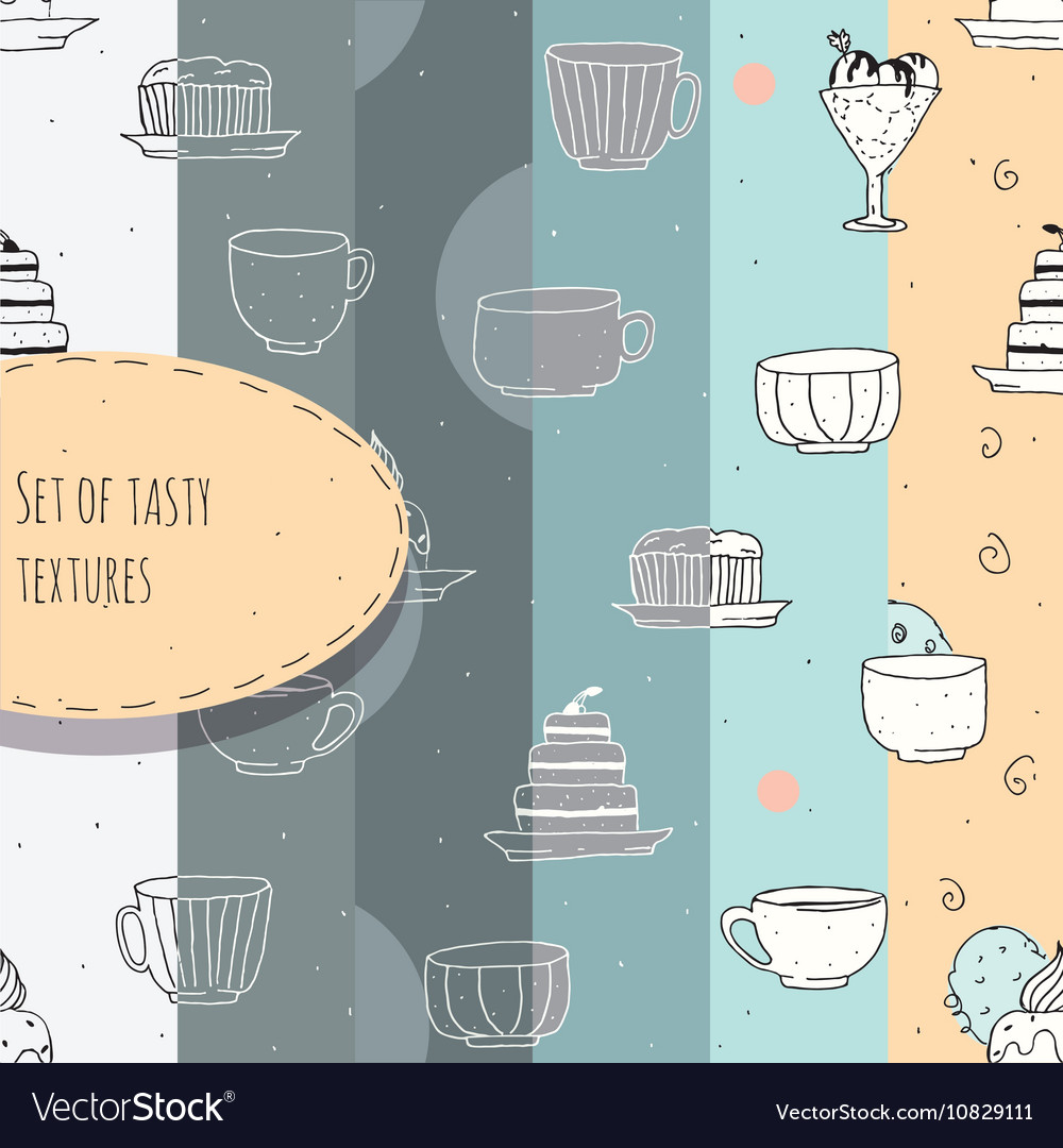 Set of hand-drawn textures with tea and coffee