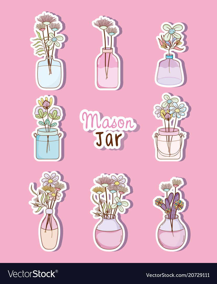 Set Of Mason Jar With Flowers Drawings Royalty Free Vector