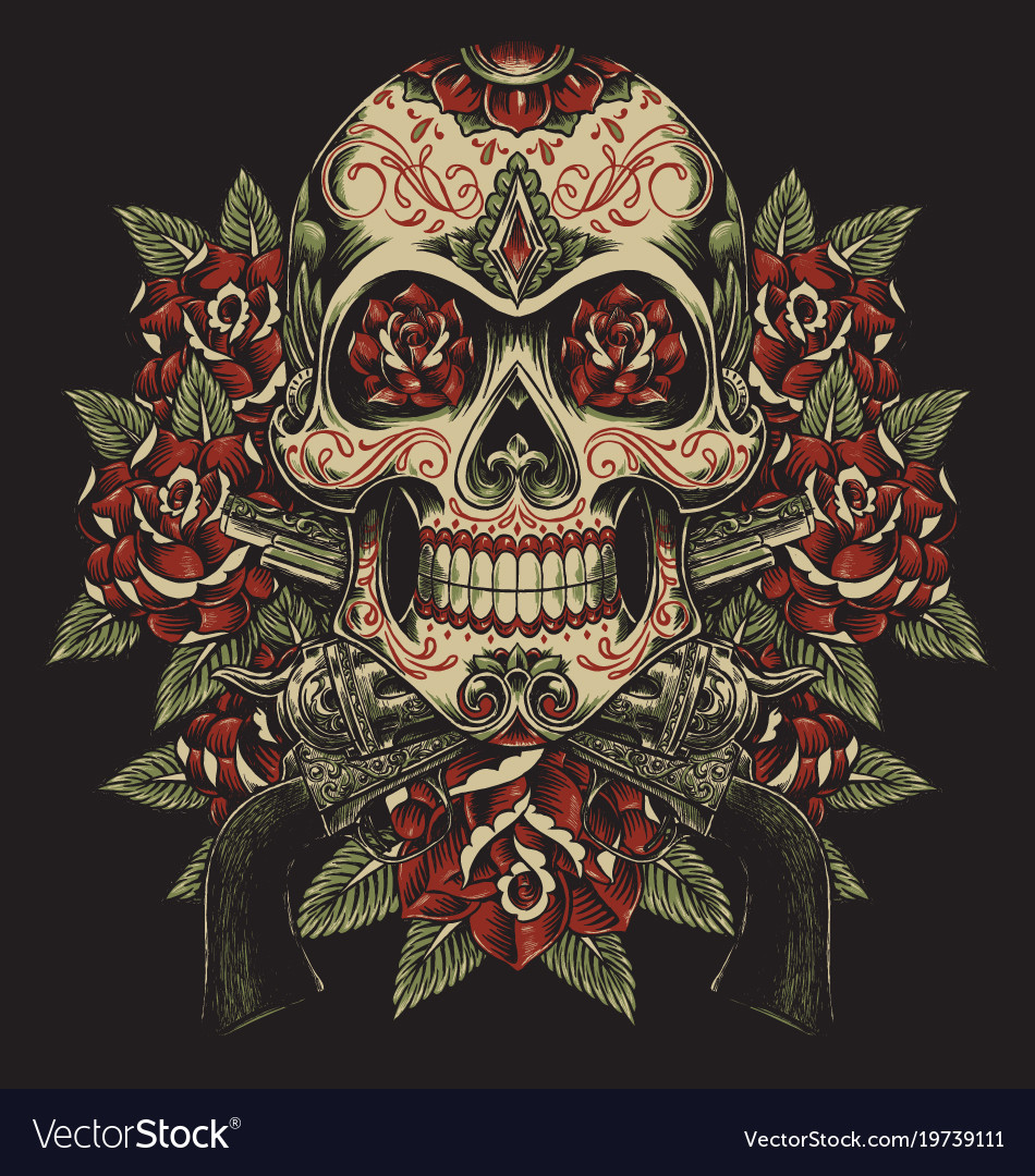 Skull and roses with revolvers tattoo