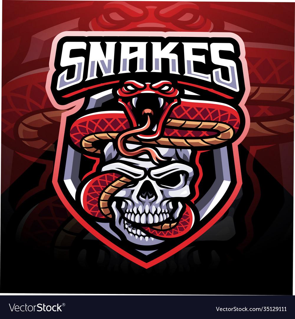 Snake with skull esport mascot logo