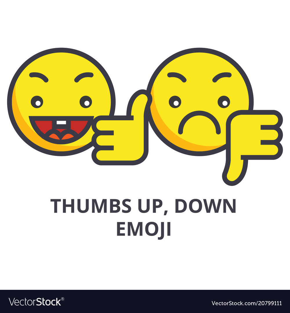 Thumbs up down emoji line icon sign