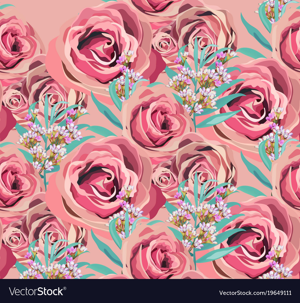 Vintage Rose Floral Pattern Background Royalty Free Vector