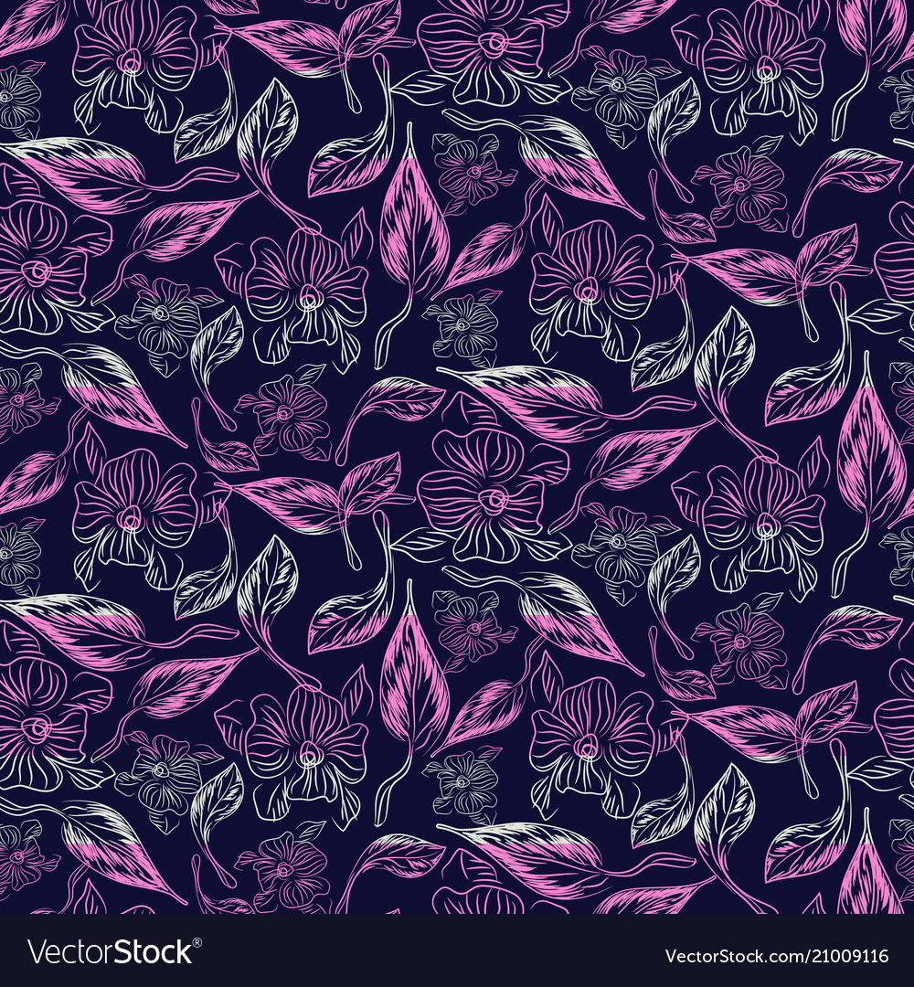 Abstract sketch drawn florals purple seamless