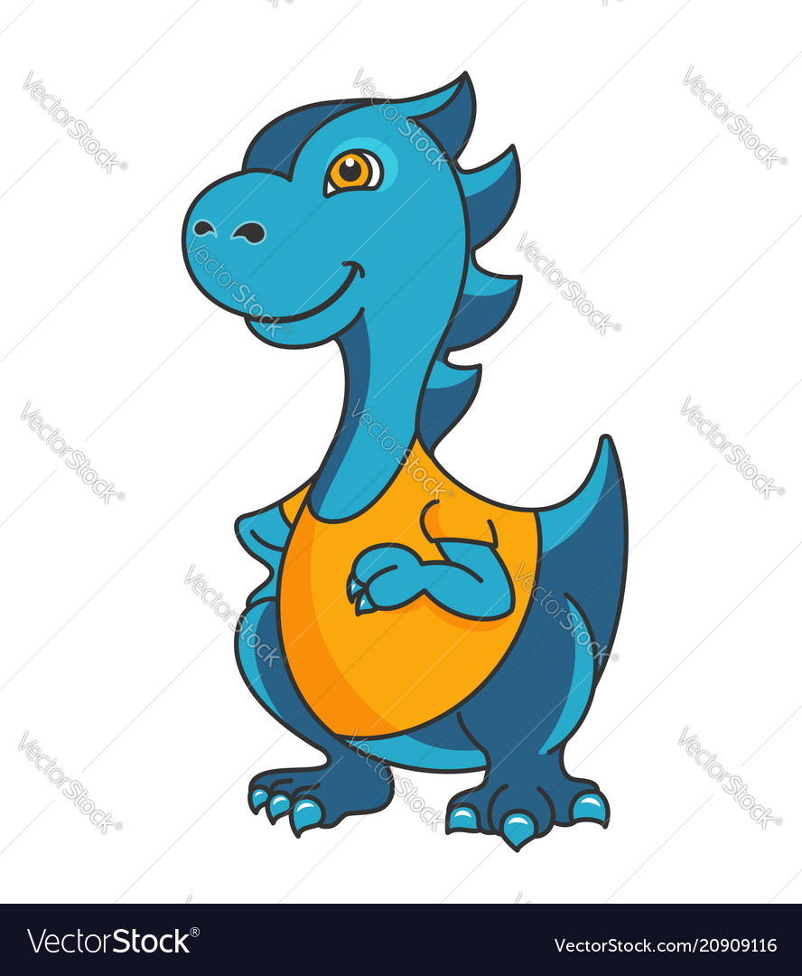 Cartoon dragon or dinosaur mascot