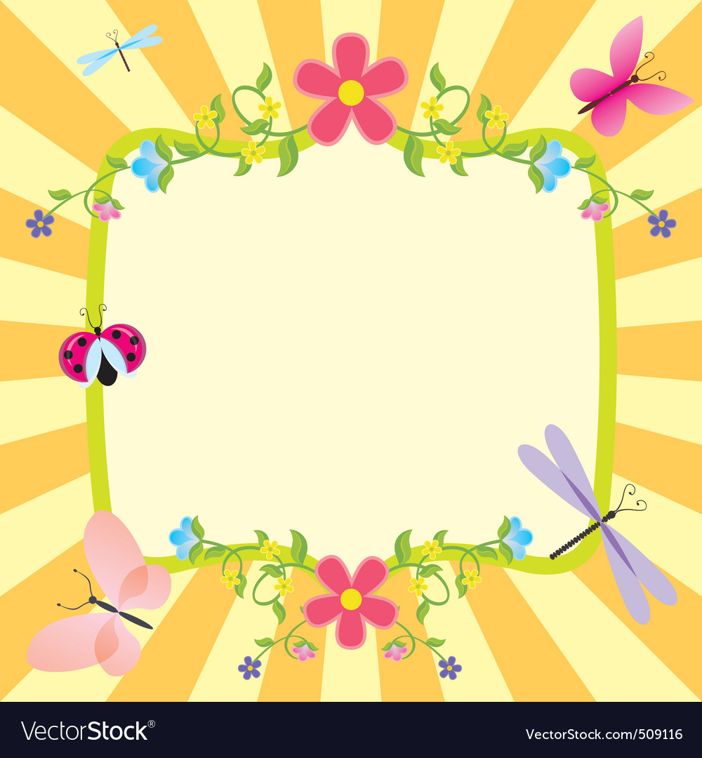 Cartoon frame summer or spring easter Royalty Free Vector