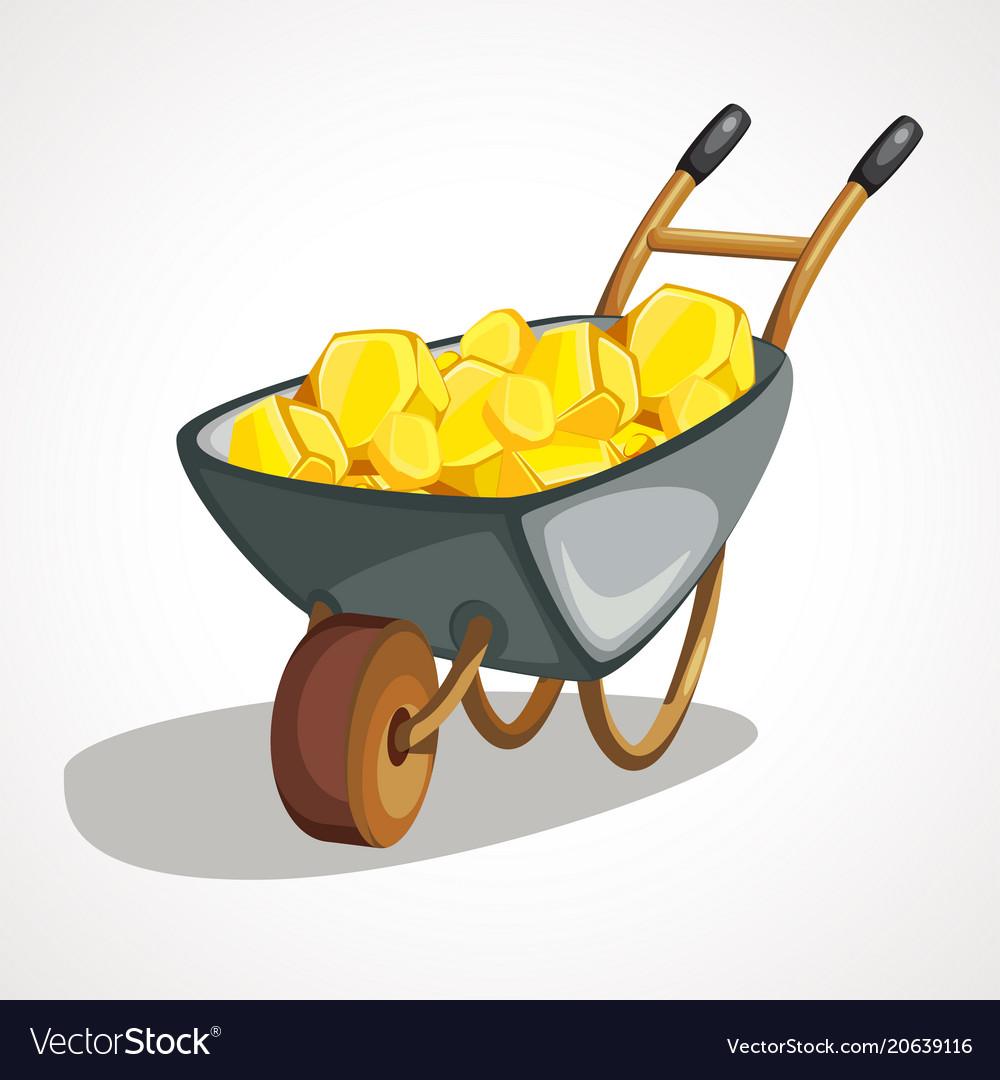 Cartoon wheelbarrow with gold