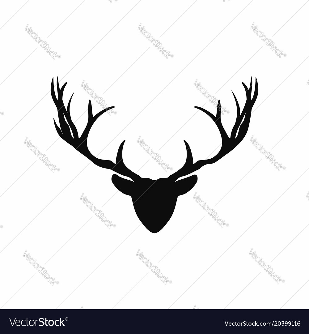 Deer head with antlers silhouette black