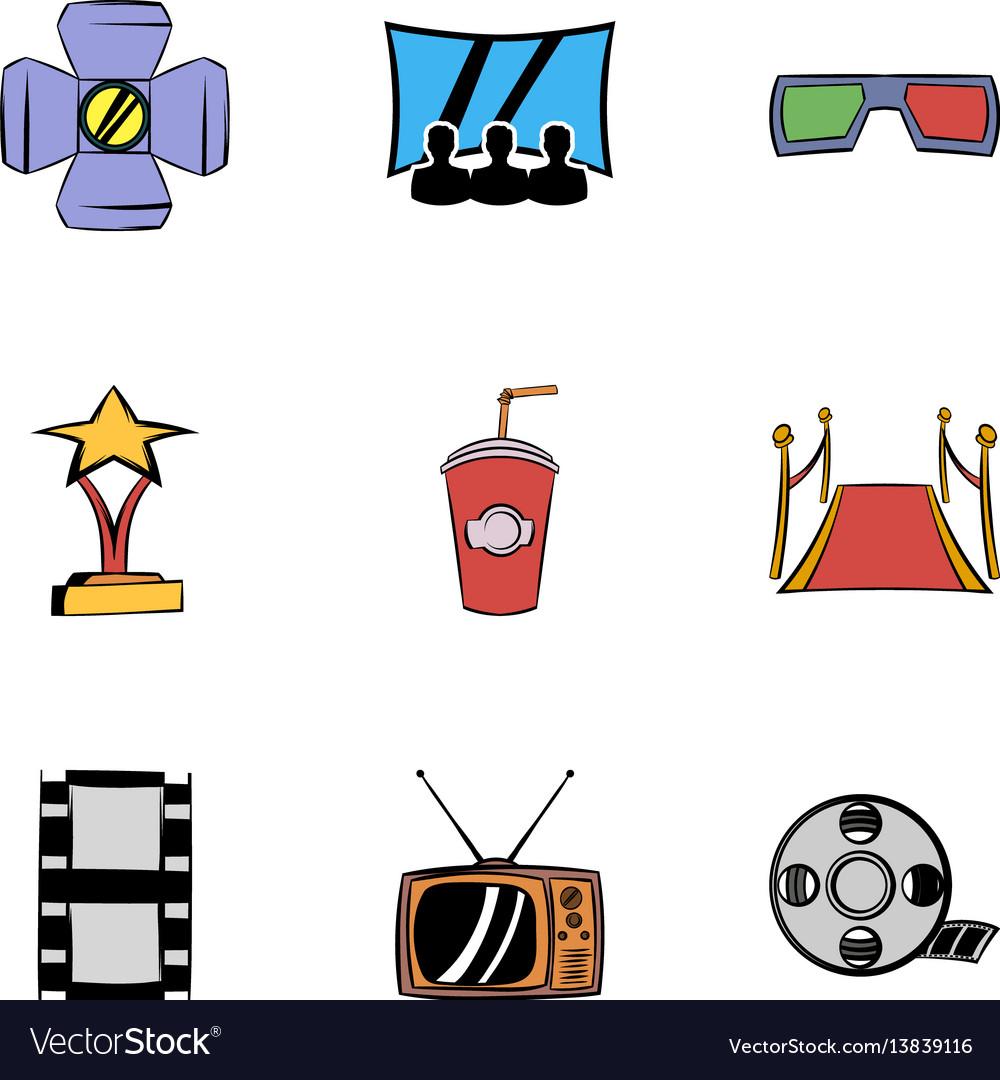 Entertainment icons set cartoon style