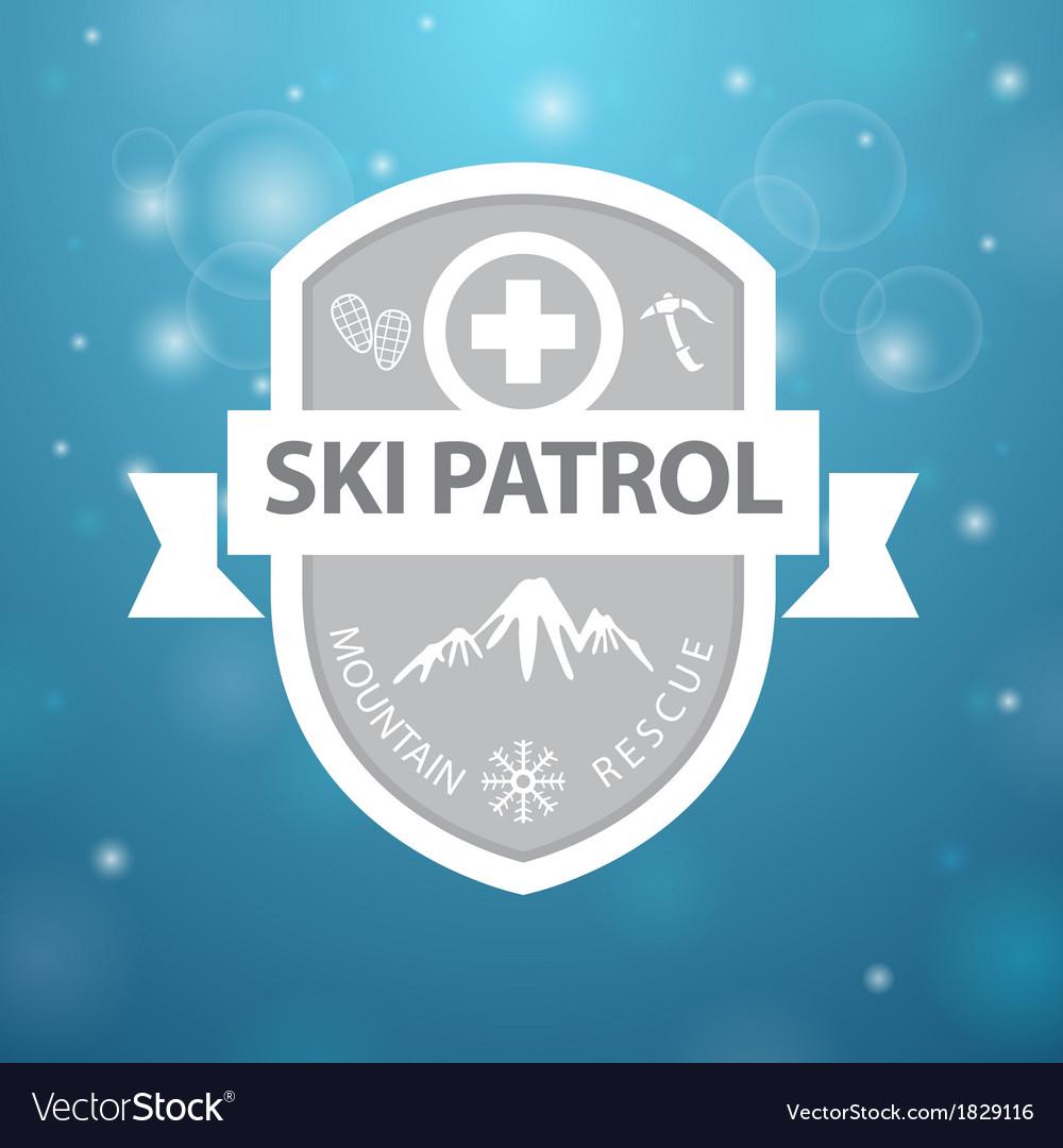 Logotype mountain ski patrol rescue on blue vector image