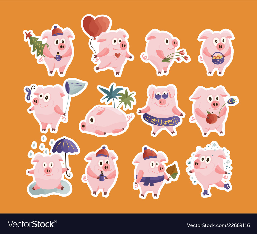 New year 2019 set with christmas pigs