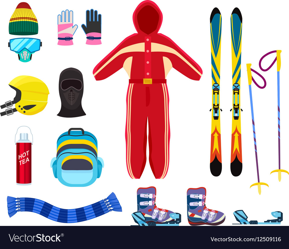 Skiing winter sports equipment set