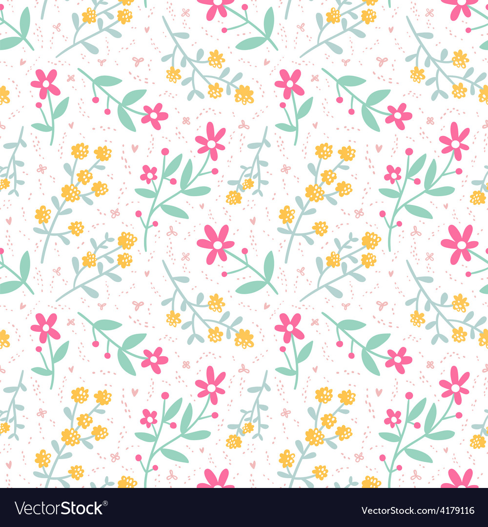 Spring mood seamless floral pattern