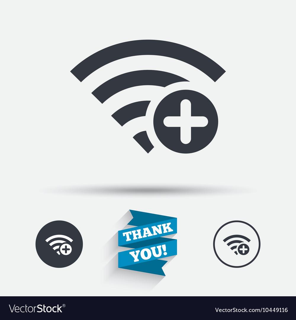 Wifi Plus Sign Add Wi Fi Symbol Wireless Vector Image