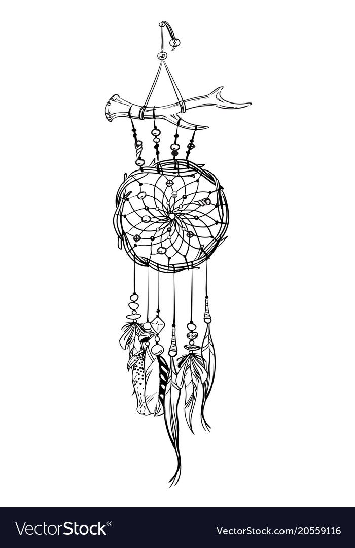 With Hand Drawn Dream Catcher Royalty Free Vector Image New Drawn Dream Catchers