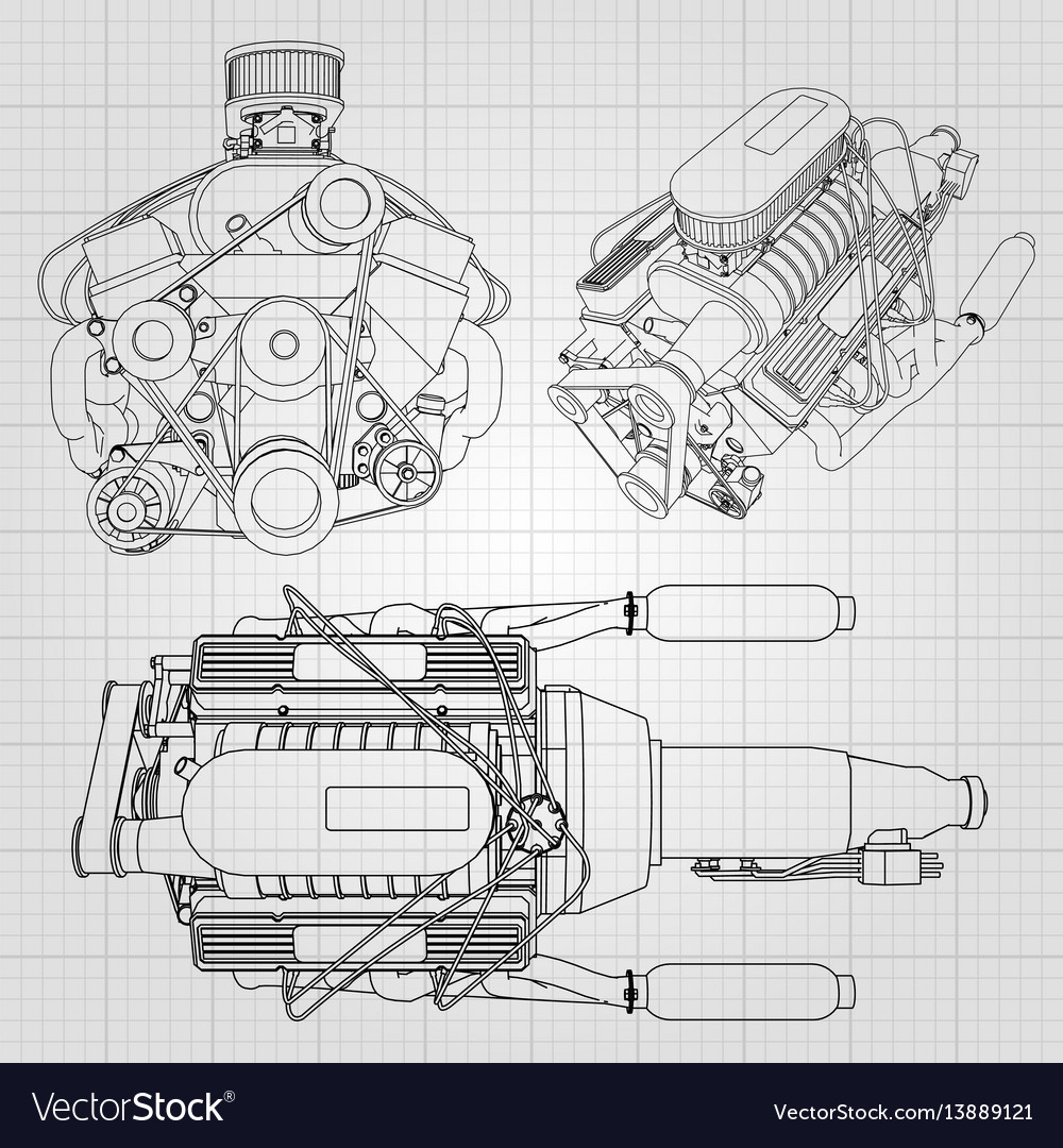 A set of several types of powerful car engine the