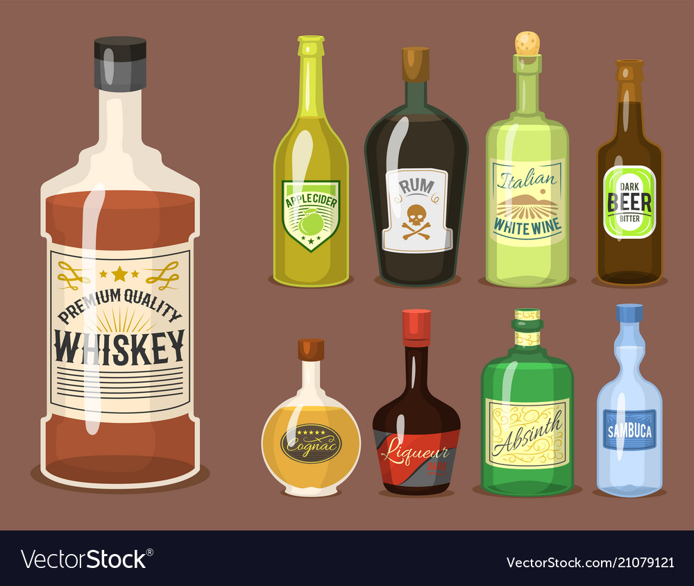 Alcohol strong drinks in bottles cartoon glasses