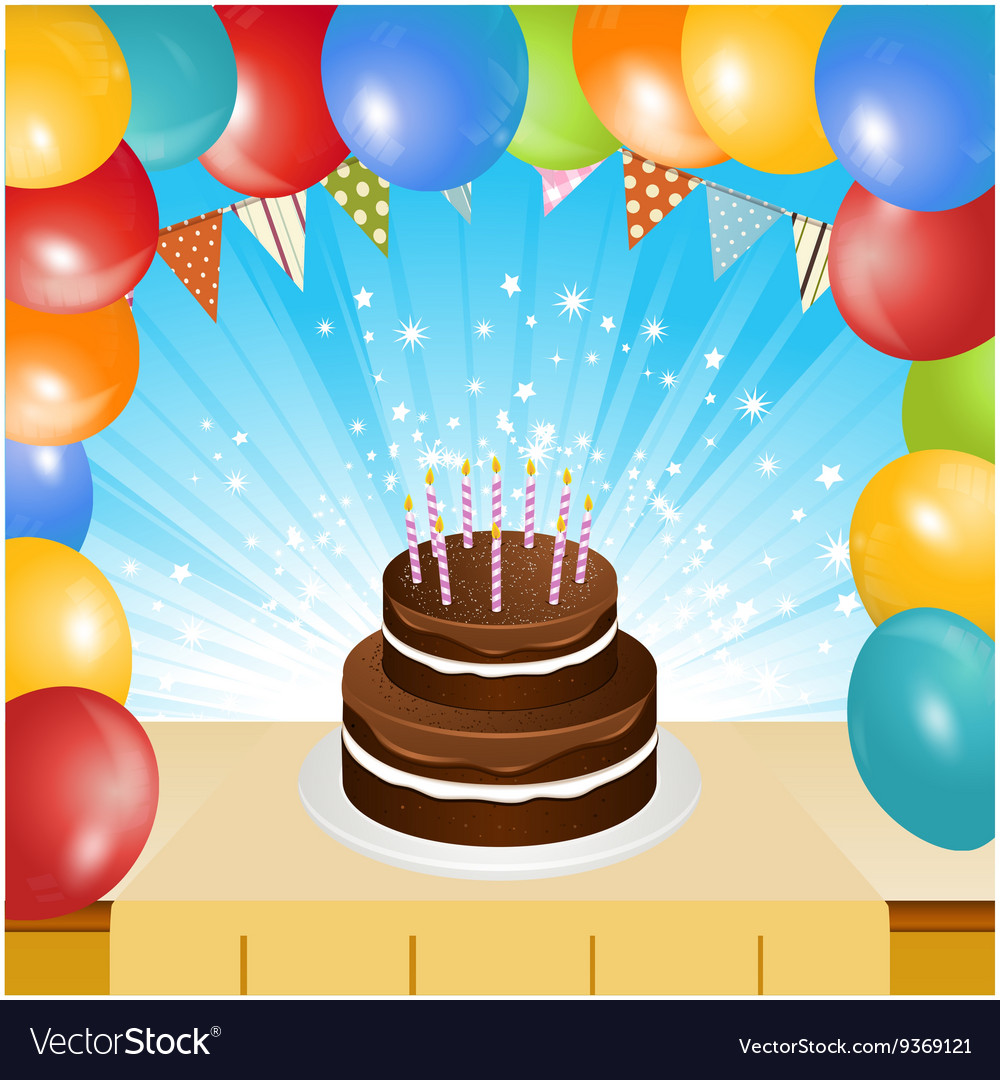 Admirable Birthday Cake Balloons And Bunting Background Vector Image Personalised Birthday Cards Veneteletsinfo