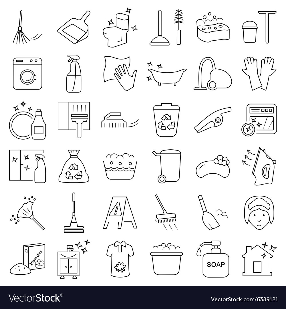 Cleaning and washing icon set