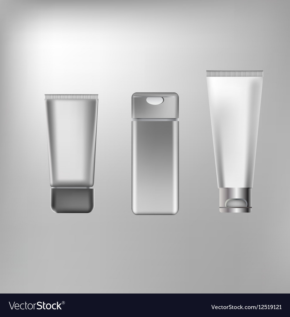 Cosmetics containers packaging vector image