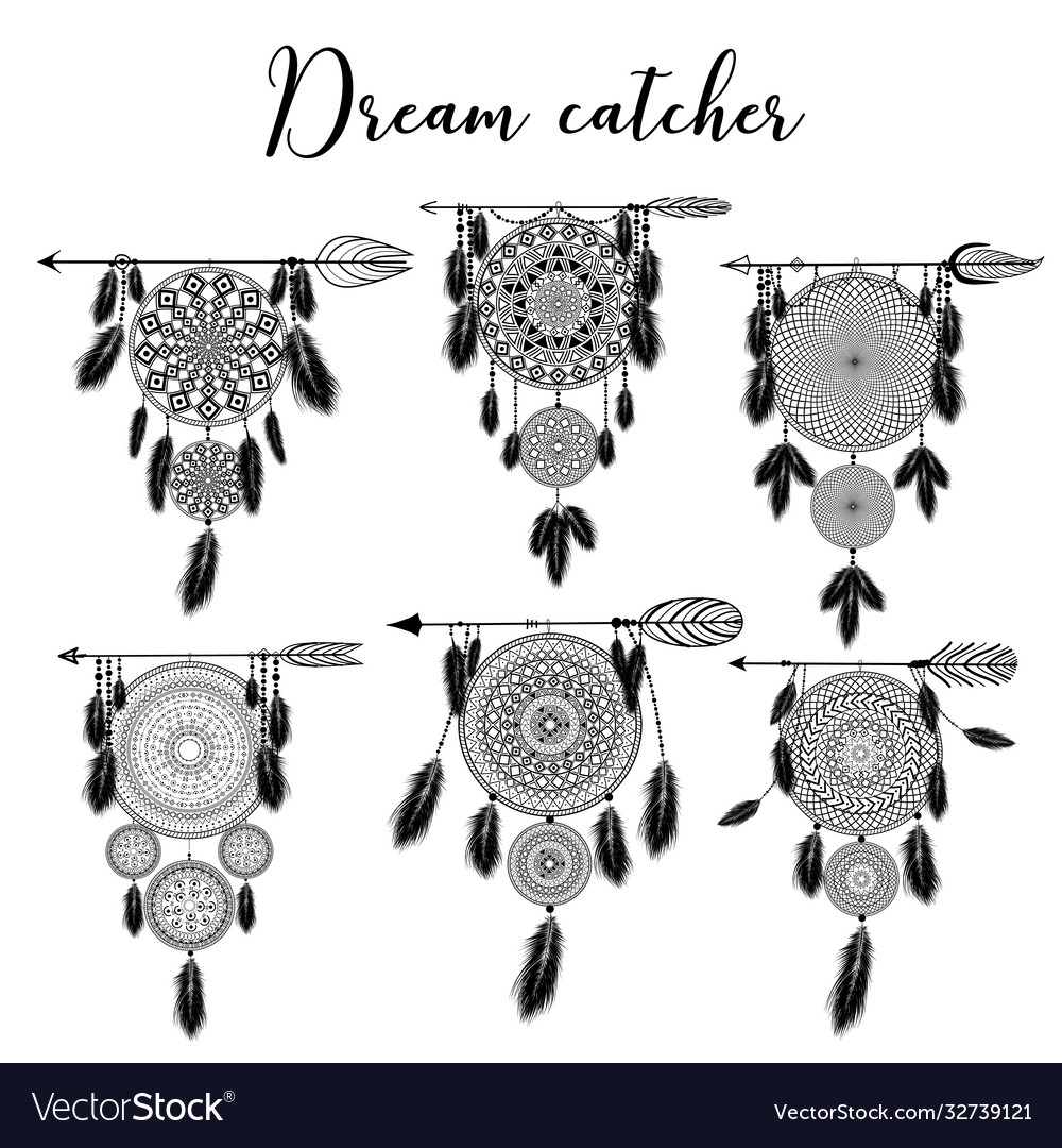 Hand drawn indian dreamcatcher with feathers