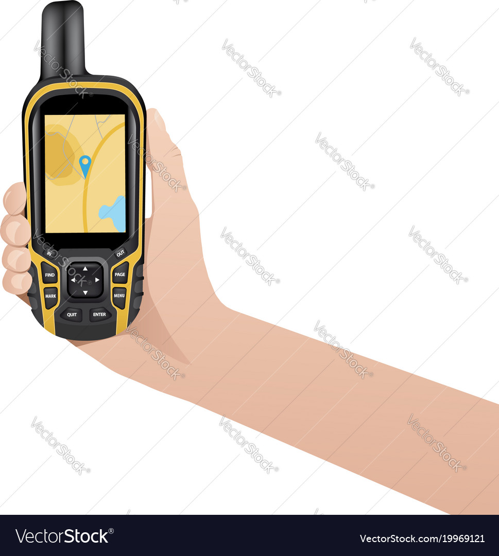 Hand with realistic gps navigator