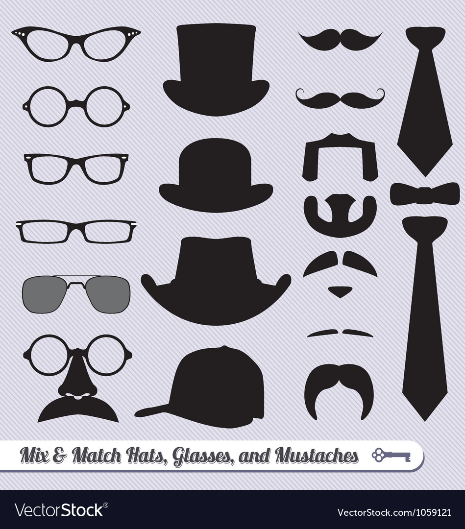 Mustache Hat Glasses and Ties Labels vector image