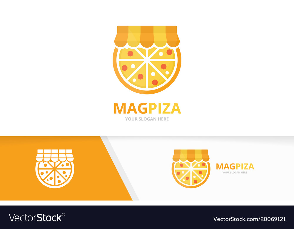 Pizza and shop logo combination food and