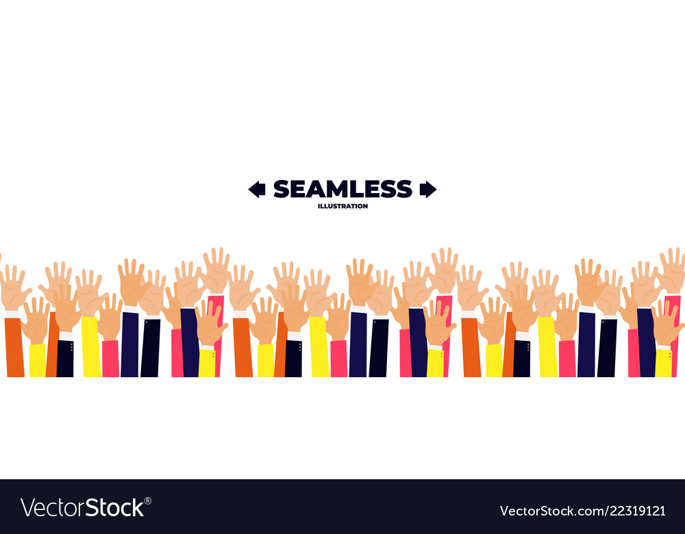 Raised up hands seamless background education