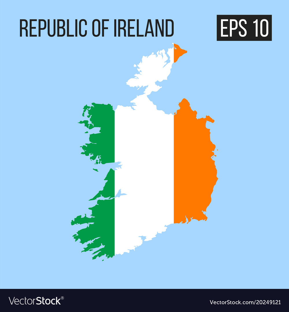 Republic Of Ireland Map Republic of ireland map border with flag eps10 Vector Image