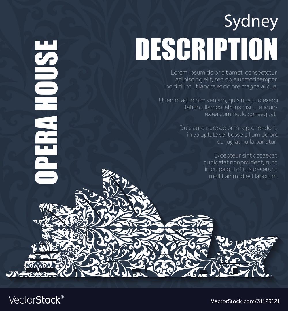Retro boho floral pattern sydney opera house