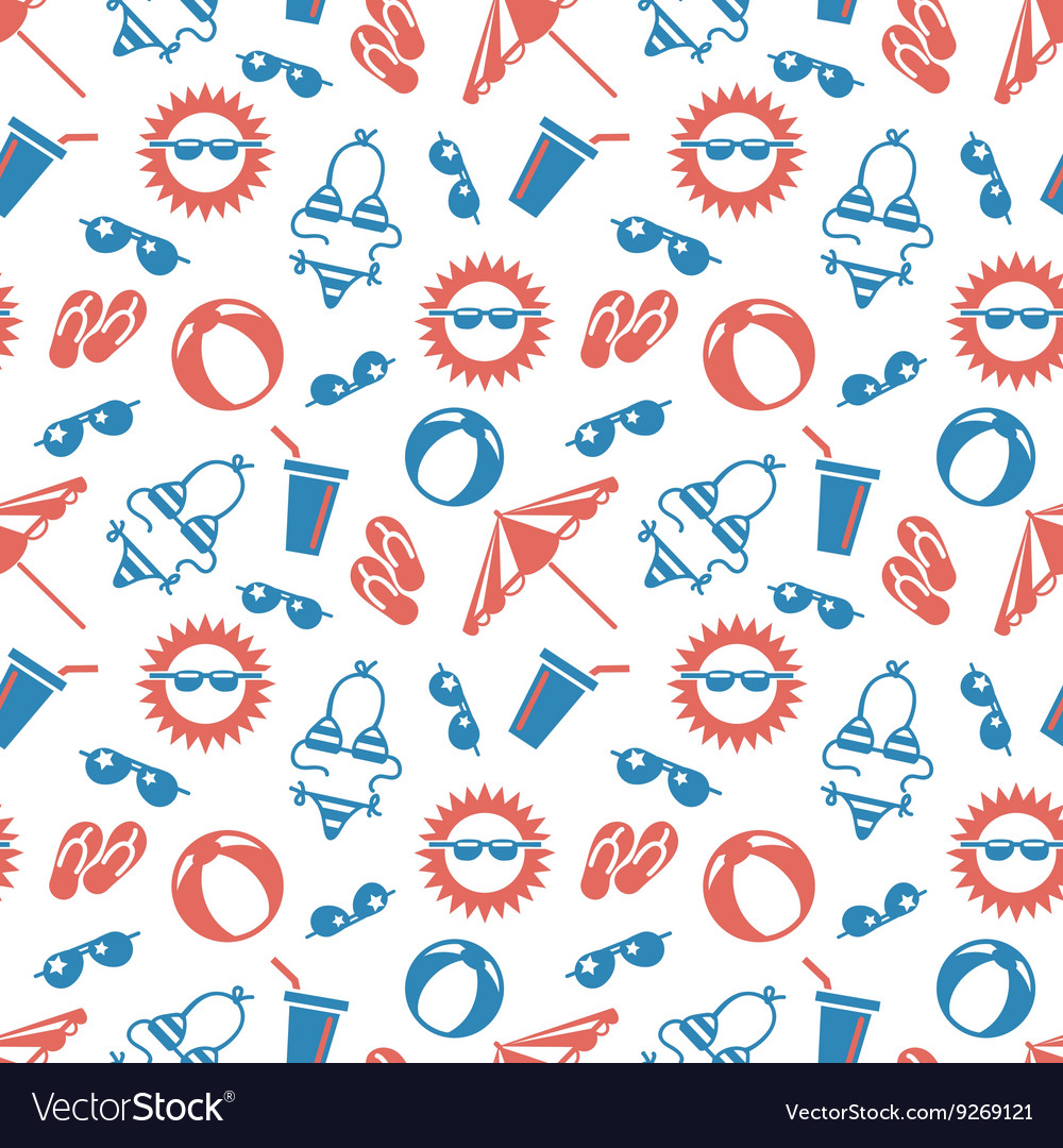 Seamless pattern witn summer vacations elements