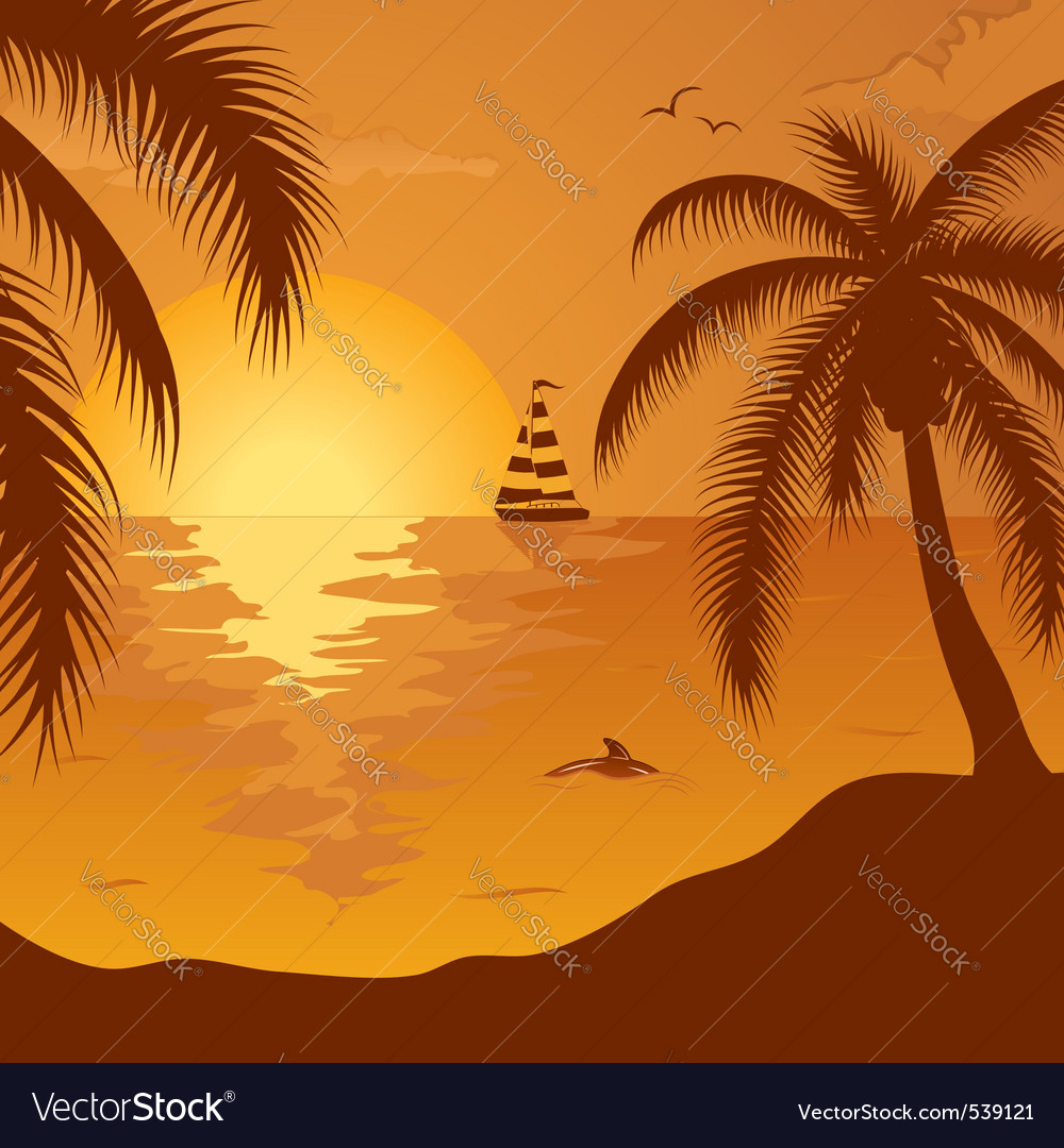 summer background with palm tree dolphin and yacht