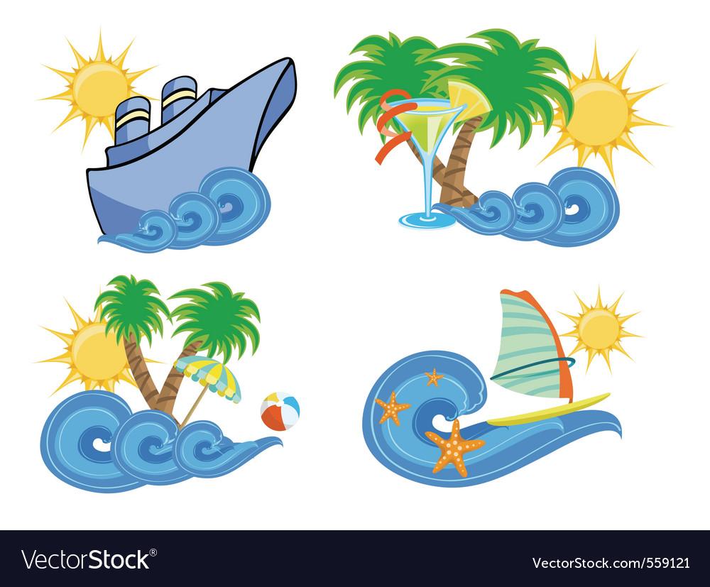Summer beach insignia set vector image