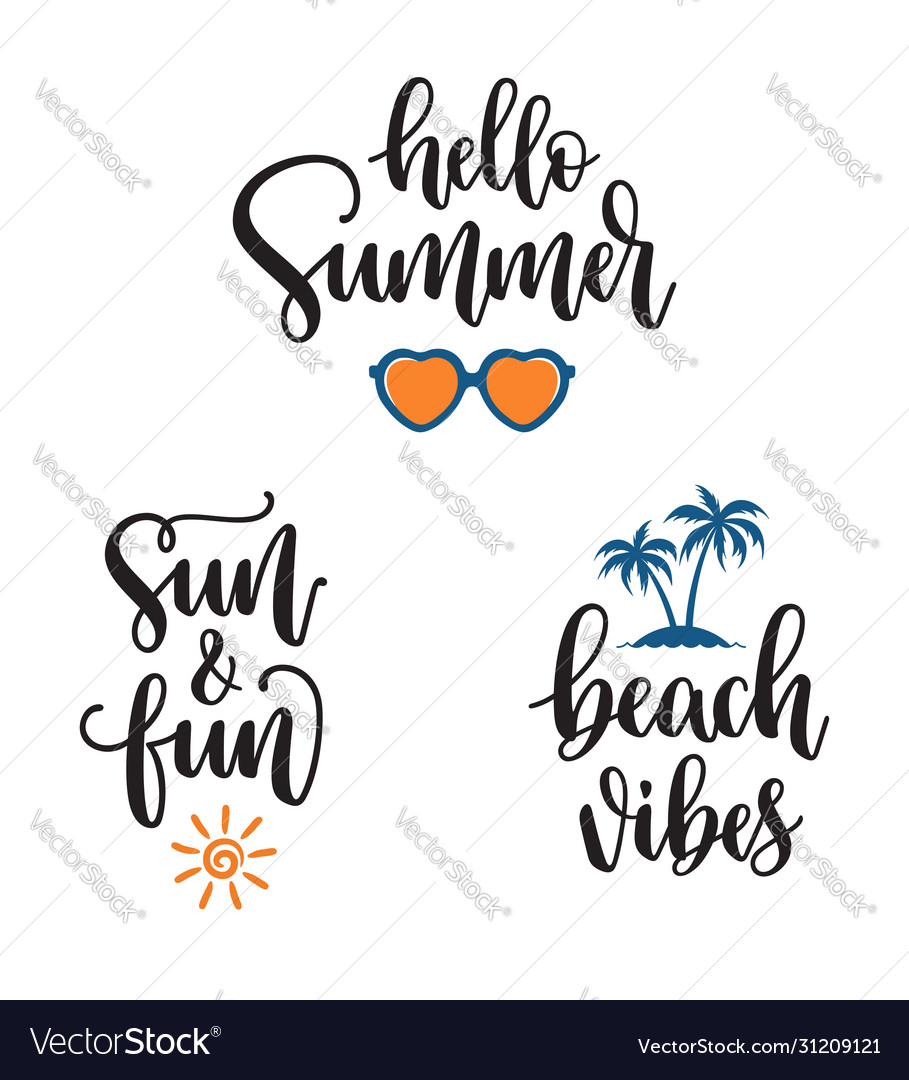 Summer phrases hand lettering