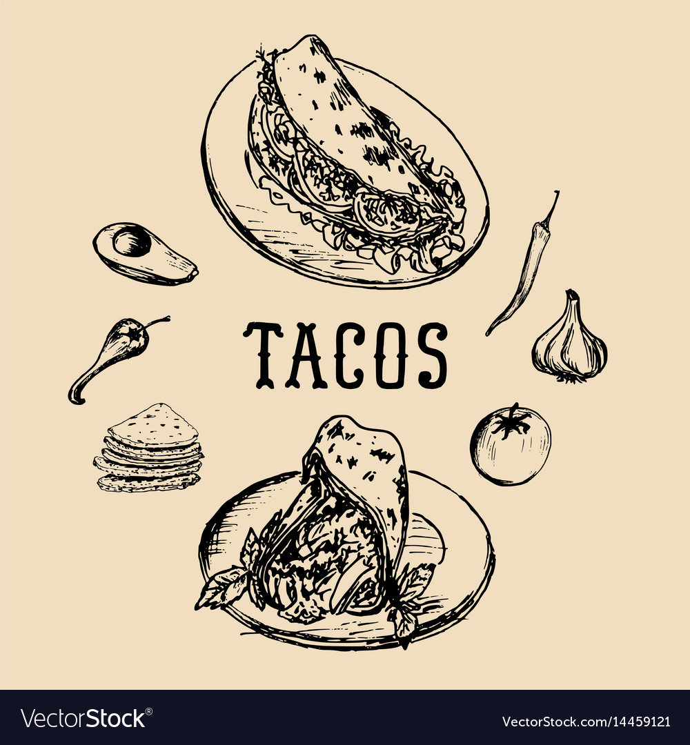 Tacos menu in tacos vintage