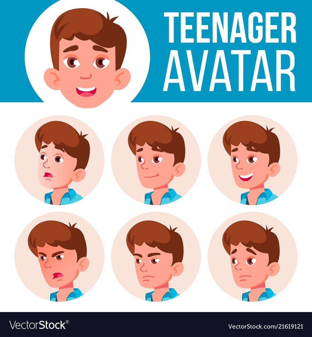 Teen boy avatar set face emotions user