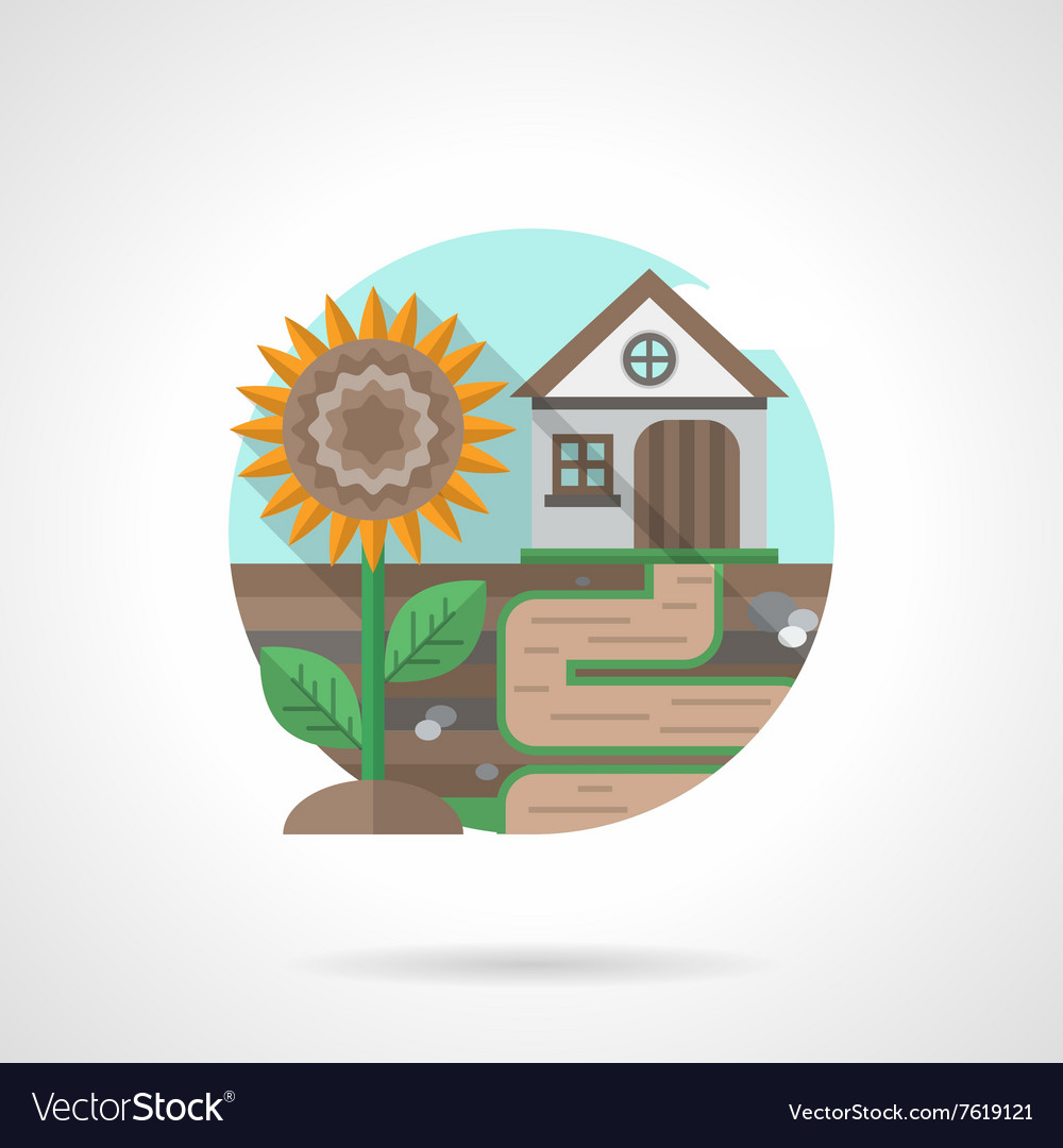 Village house detailed flat color icon