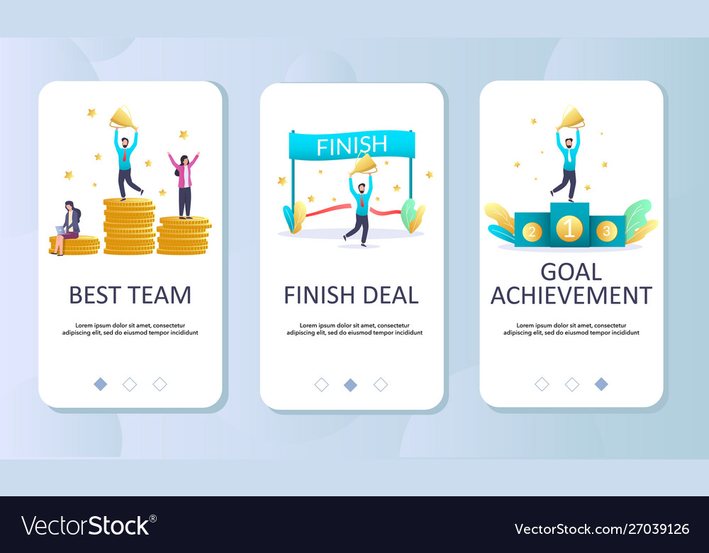 Achievements mobile app onboarding screens