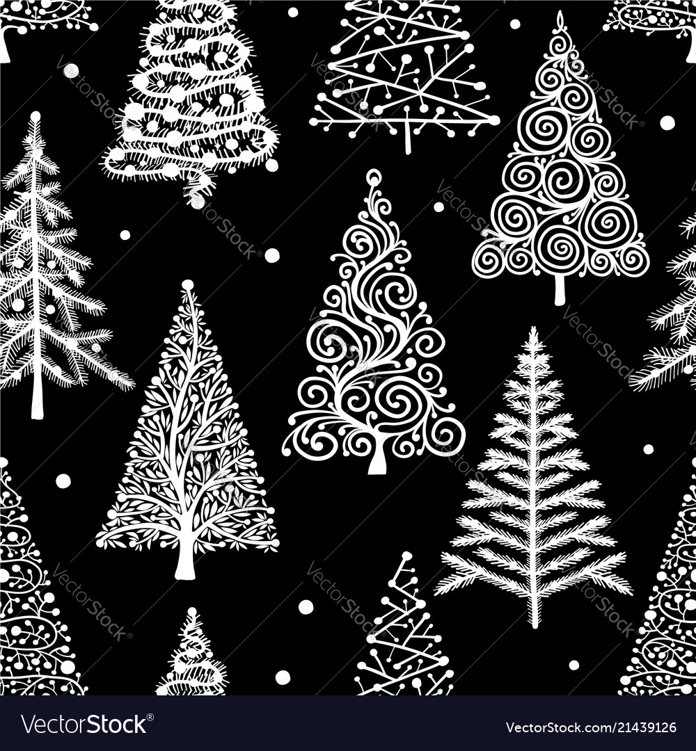 Christmas trees seamless pattern for your design