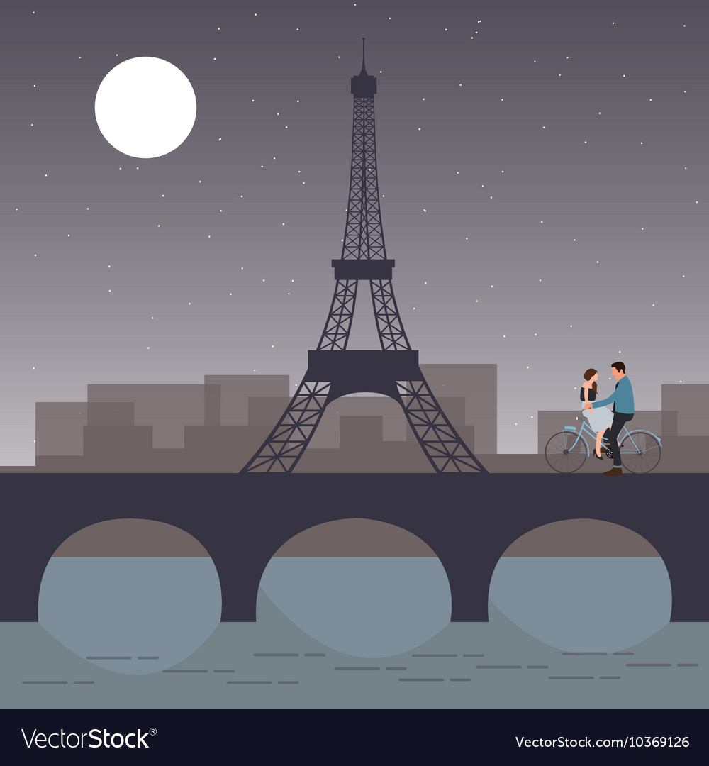 Couple bicycle in paris with eiffel tower romantic