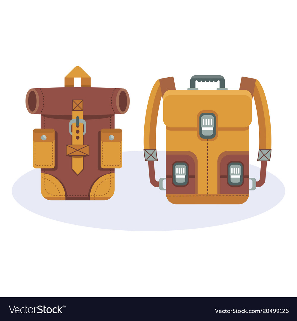 ac3354208 Fashionable hipster leather backpacks Royalty Free Vector