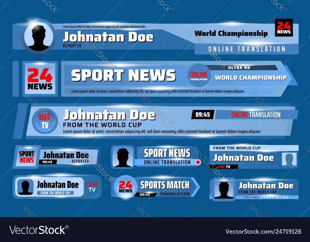 Lower third banners tv sport news bars template