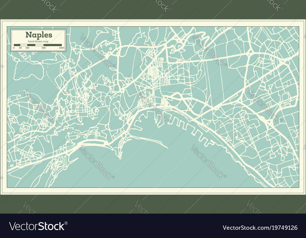 Naples italy city map in retro style outline map Vector Image