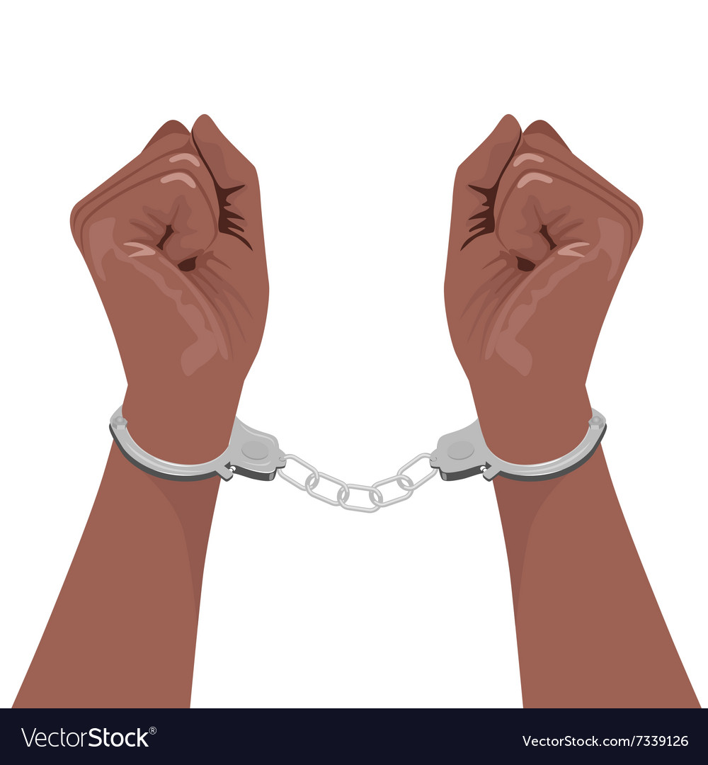 Pair of african american hands in handcuffs