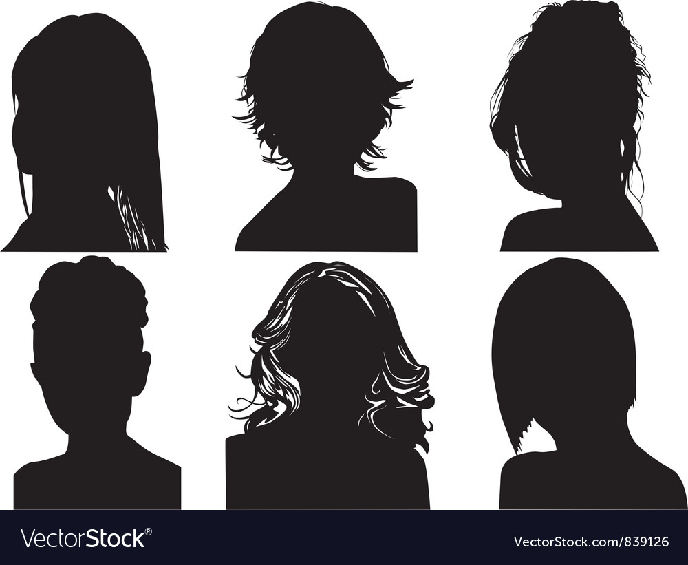 Silhouettes of womens heads vector image