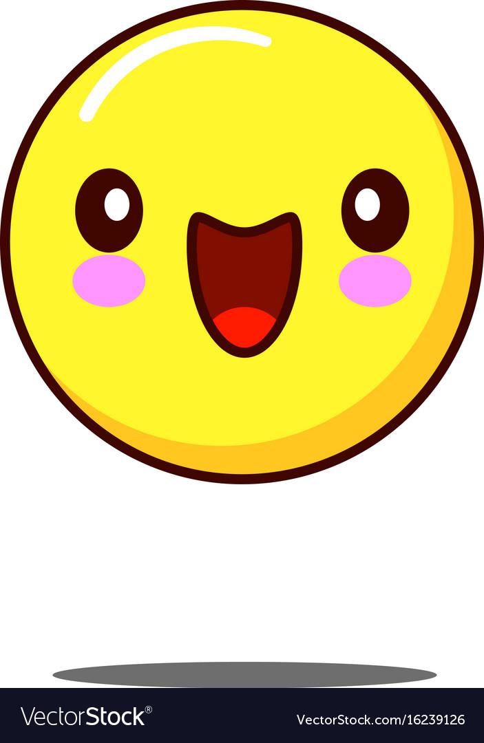 Smiling emoticon icon kawaii flat design vector image