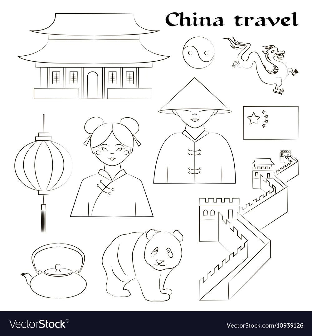Travel to China Set of icons