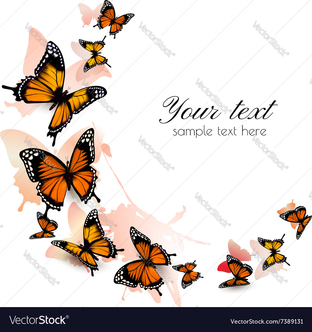 Beautiful butterfly background vector image